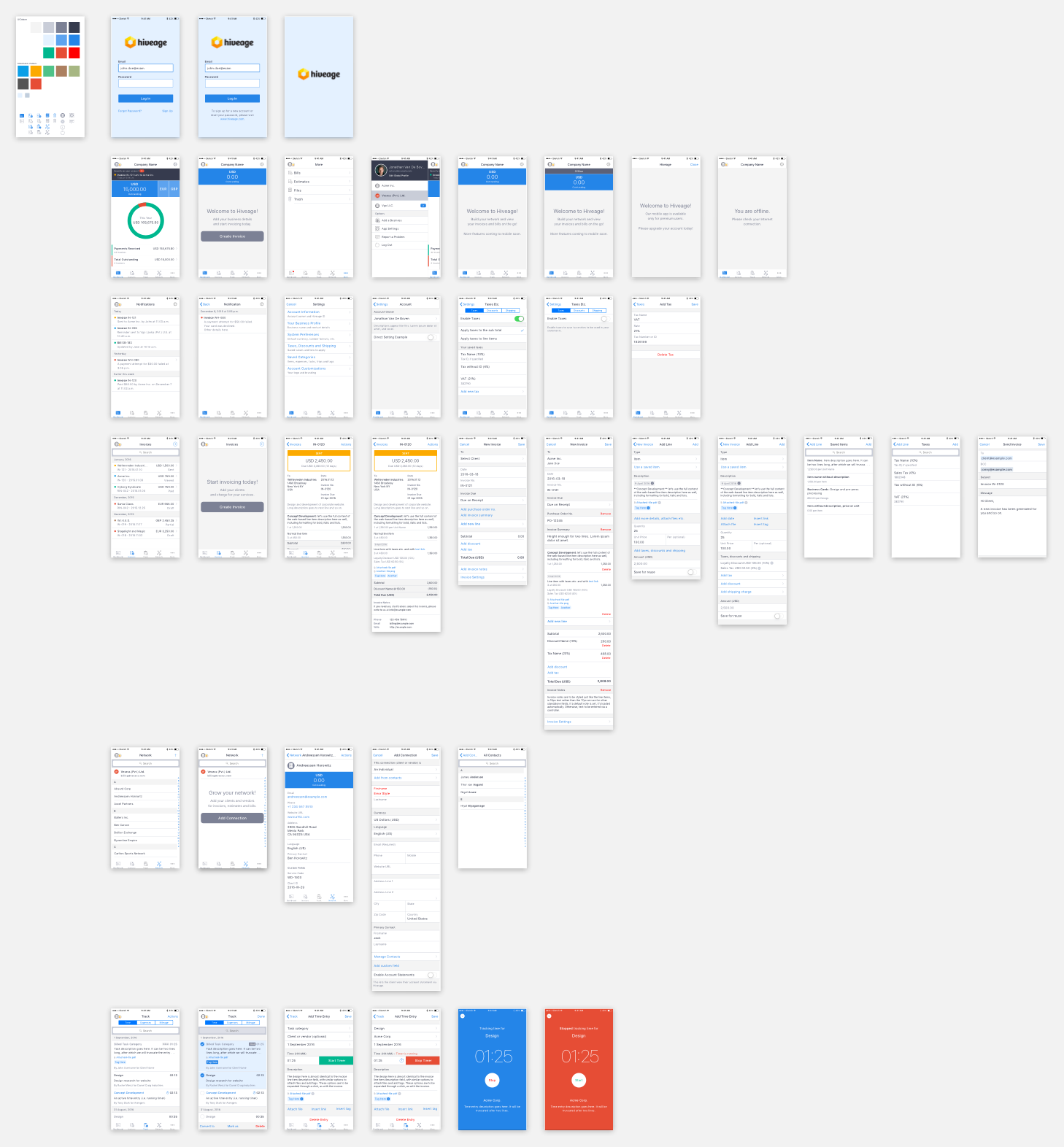 Hiveage iOS app design compositions