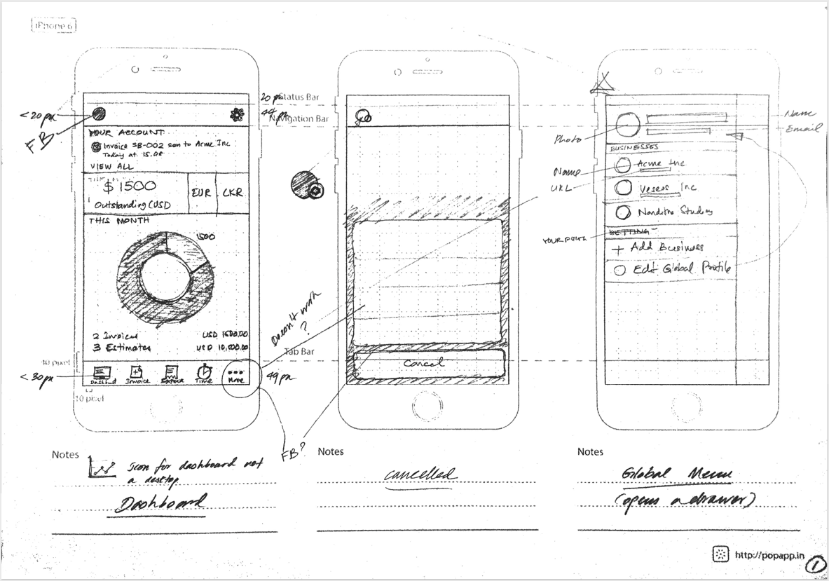 Pencil sketches for the Hiveage iOS app